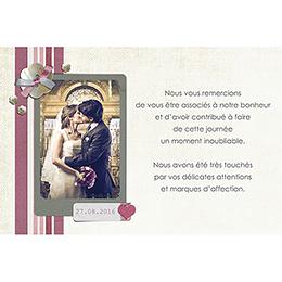 Carte de remerciement mariage Scrap'rose  gratuit