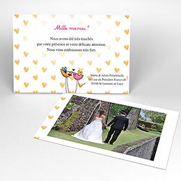 Carte de remerciement mariage Bol d'amour