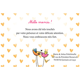 Carte de remerciement mariage Bol d'amour  pas cher