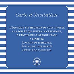Carte d'invitation mariage Navy chic  pas cher