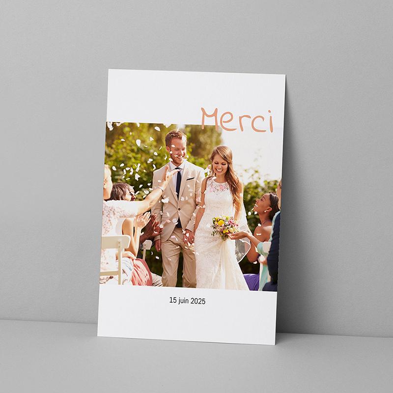Carte de remerciement mariage Couronne Pêche