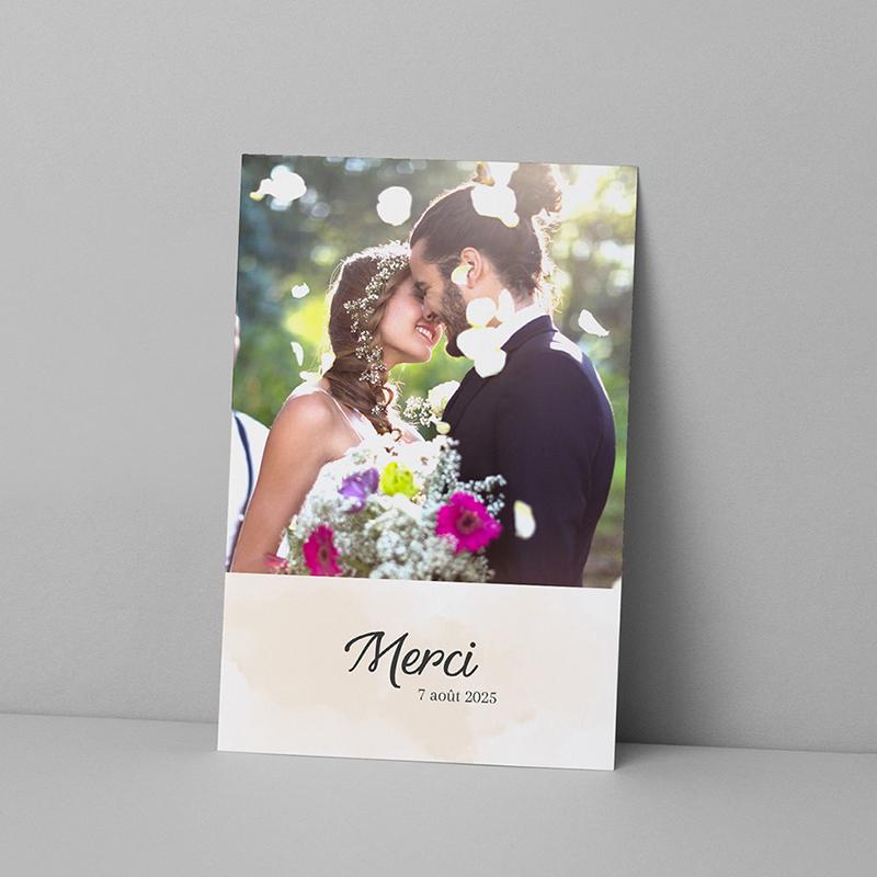 Carte de remerciement mariage Feuilles Tropicales