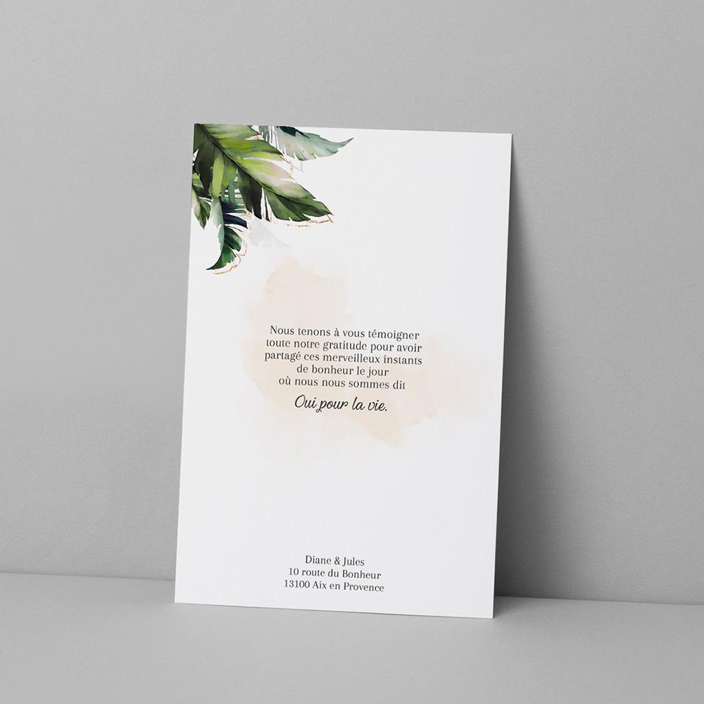 Carte de remerciement mariage Feuilles Tropicales pas cher