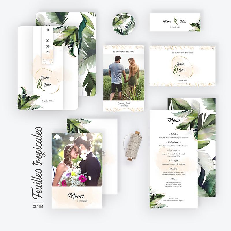 Carte de remerciement mariage Feuilles Tropicales gratuit