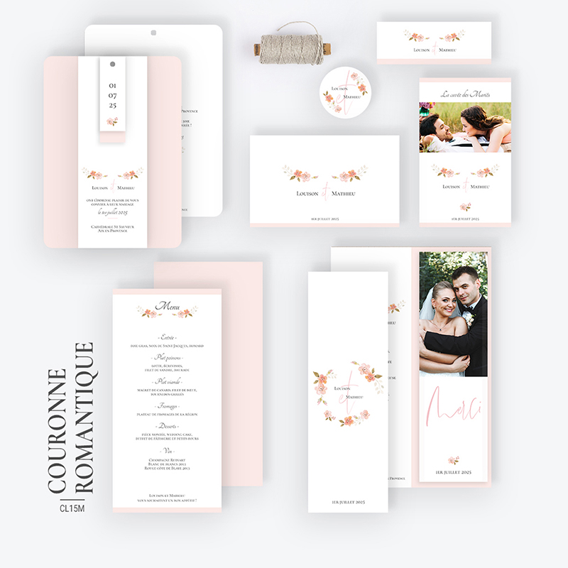 Carte de remerciement mariage Couronne Romantique Rose gratuit