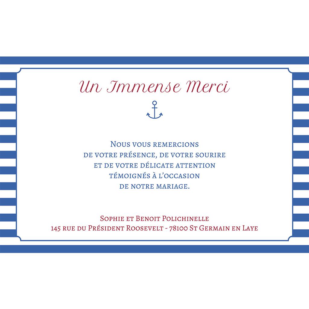 Carte de remerciement mariage Navy chic  pas cher