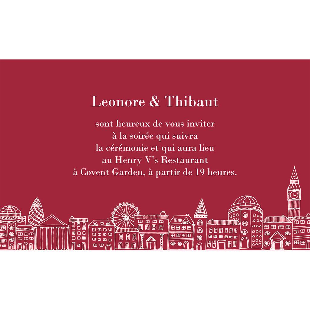 Carte d'invitation mariage Londres  pas cher