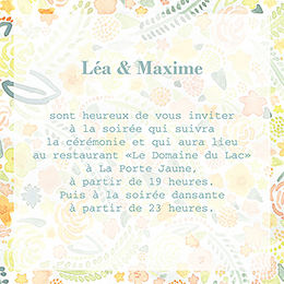 Carte d'invitation mariage Aquarelle  pas cher