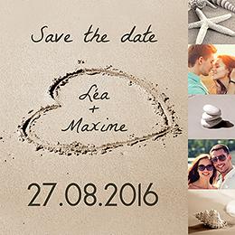 Save-the-date mariage La Plage  pas cher