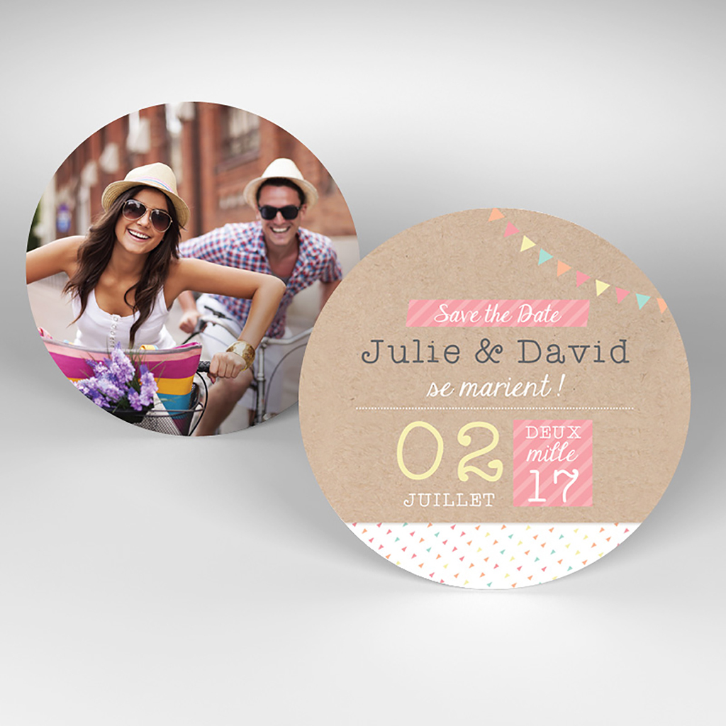 Save-the-date mariage Pretty love story rond