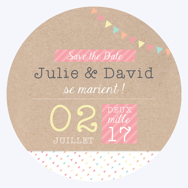Save-the-date mariage Pretty love story rond pas cher