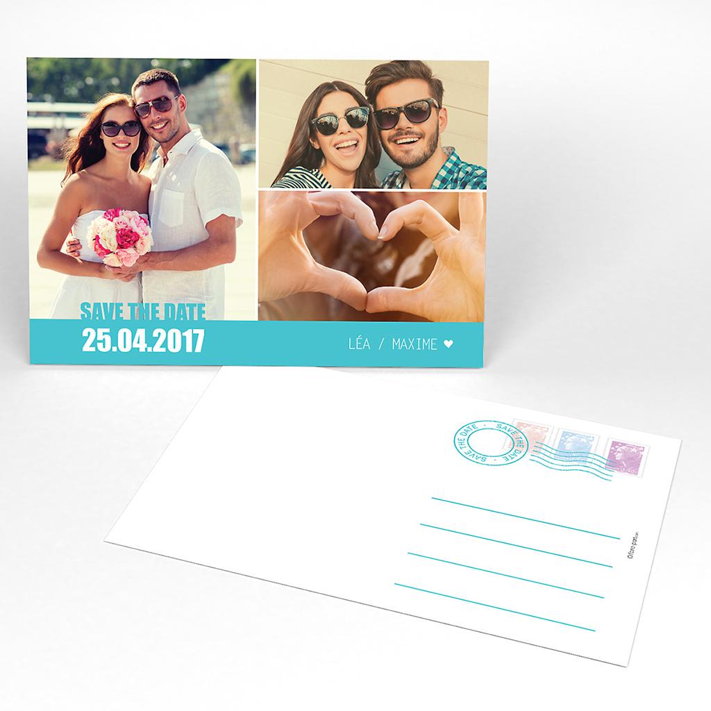 Save-the-date mariage Voyage bleu