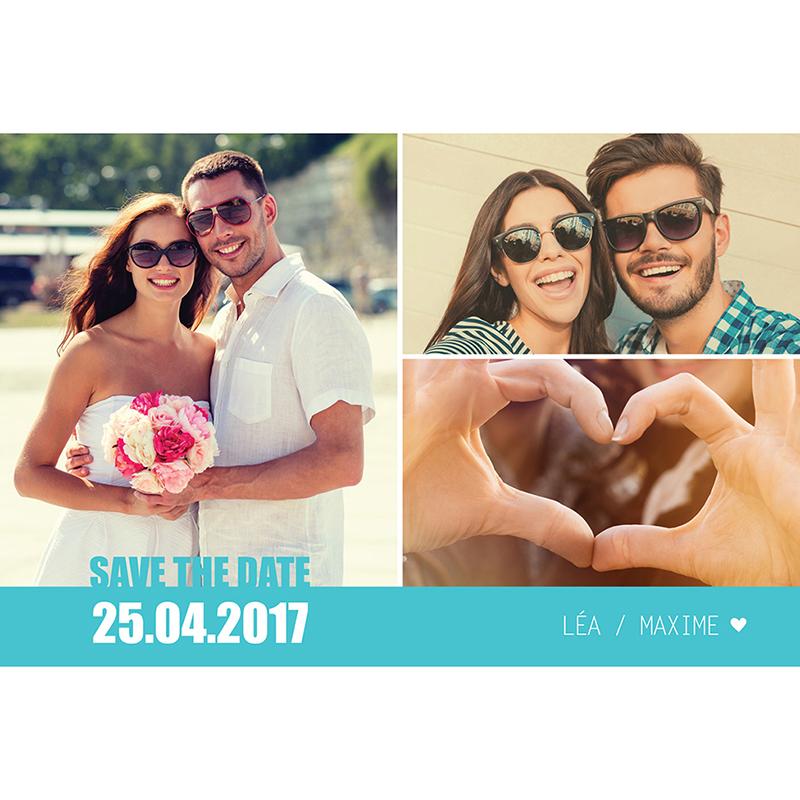 Save-the-date mariage Voyage bleu pas cher