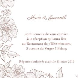 Carte d'invitation mariage Elégance pas cher