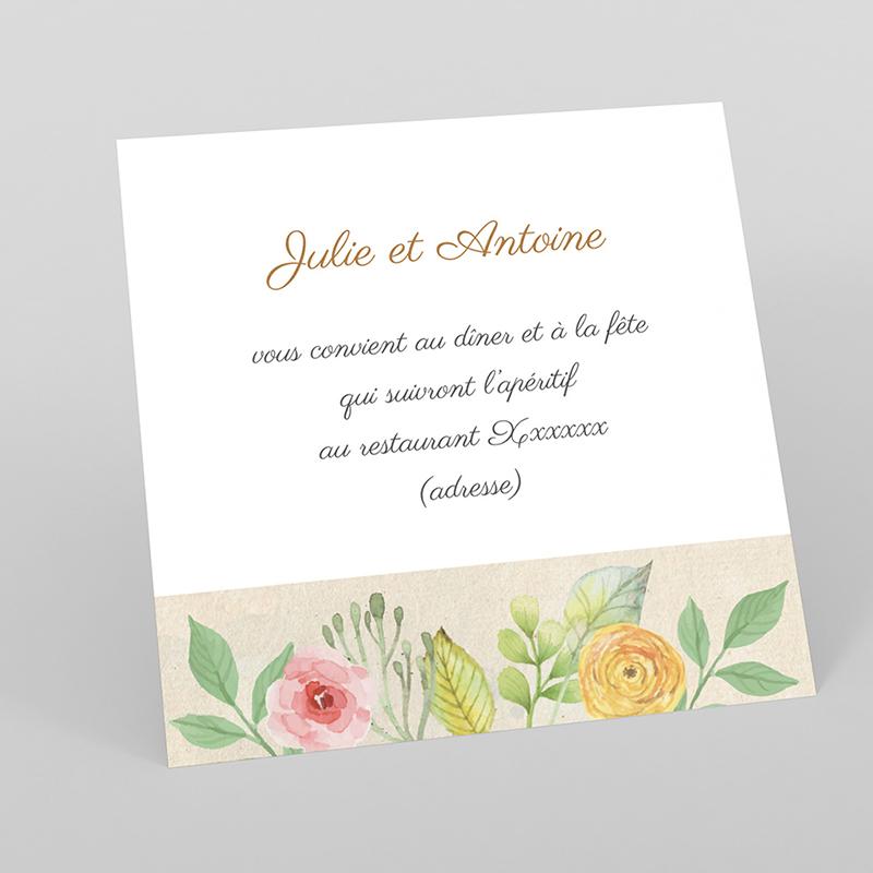 Carte d'invitation mariage Fleurs Vintage
