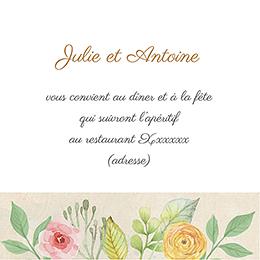 Carte d'invitation mariage Fleurs Vintage pas cher