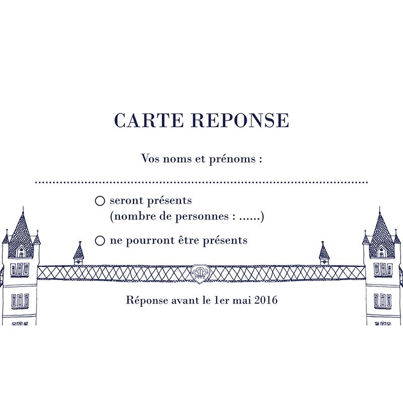 Carton réponse mariage Londres  pas cher