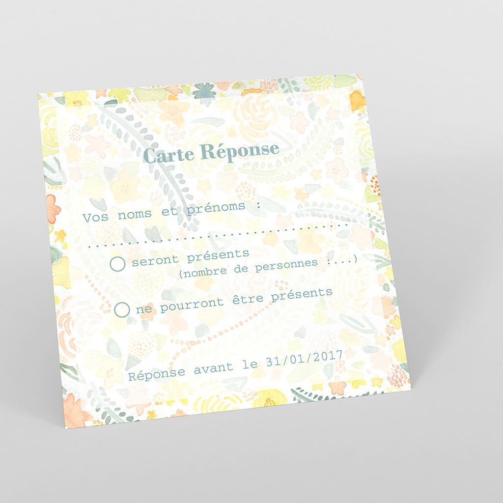 Carton réponse mariage Aquarelle