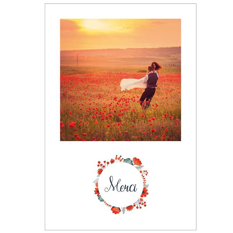 Carte de remerciement mariage Poppy gratuit