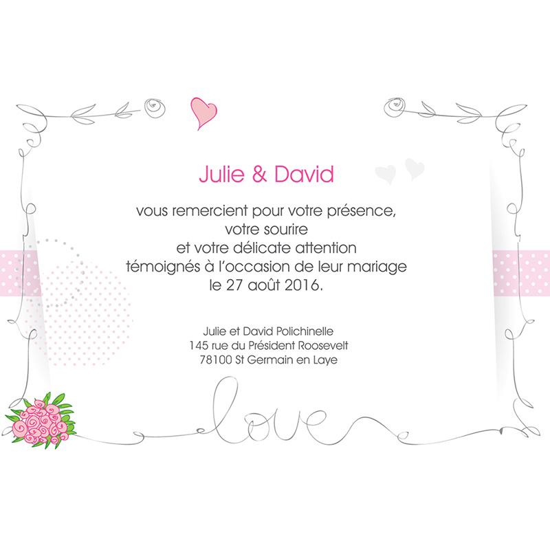 Carte de remerciement mariage Jour de fête  pas cher