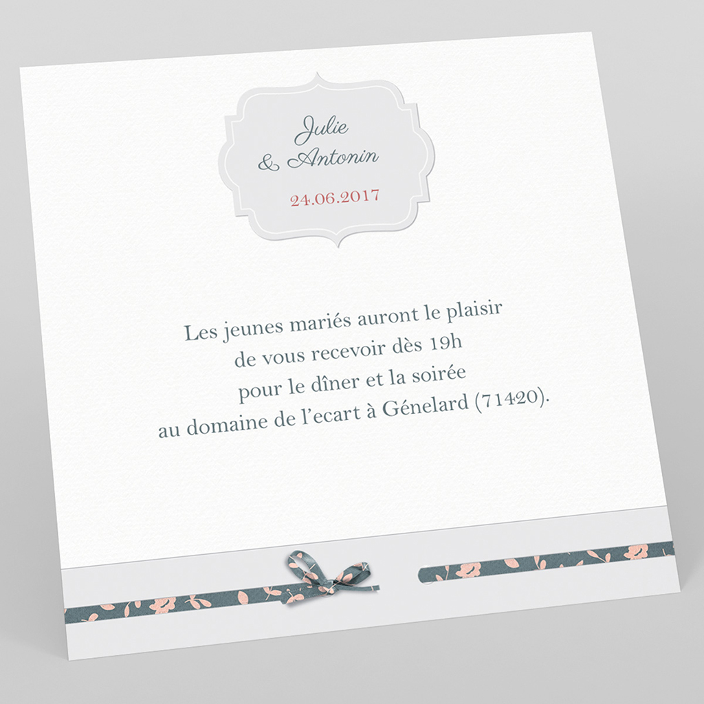 Carte d'invitation mariage Simplicité