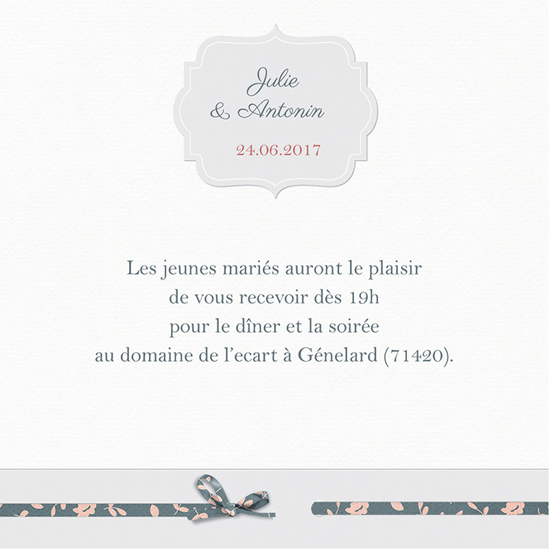 Carte d'invitation mariage Simplicité pas cher