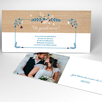 Carte de remerciement mariage Bois Fleuri