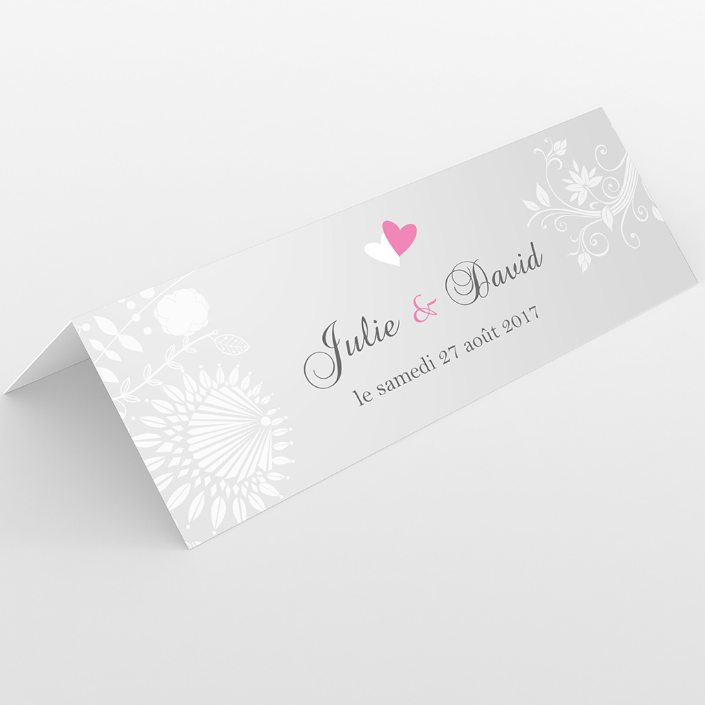 Marque-place mariage Youpi gris tryptique