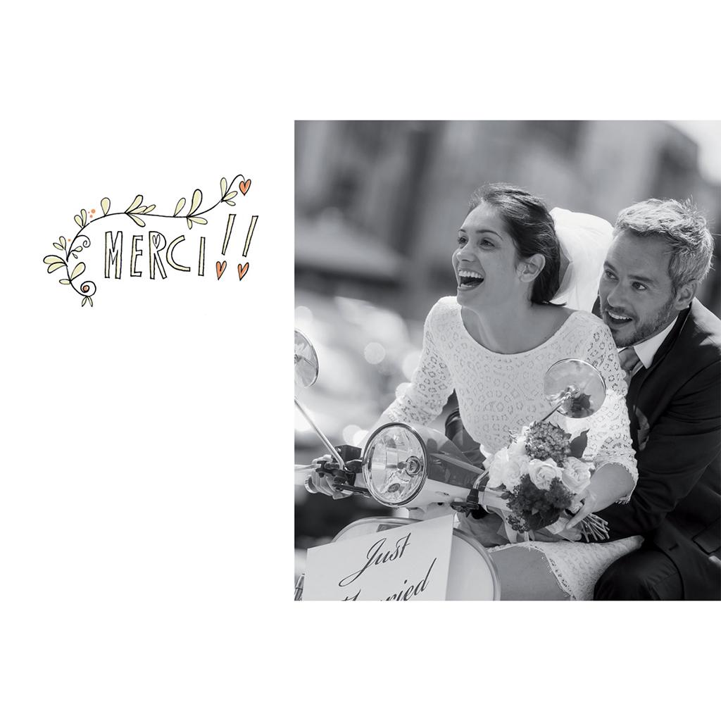 Carte de remerciement mariage Scooter gratuit