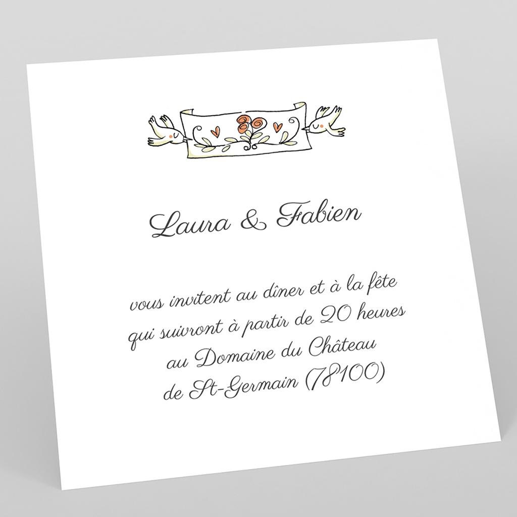 Carte d'invitation mariage Couronne de fleurs