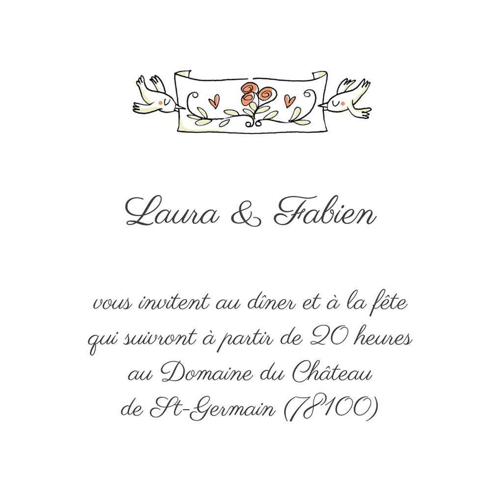Carte d'invitation mariage Couronne de fleurs pas cher