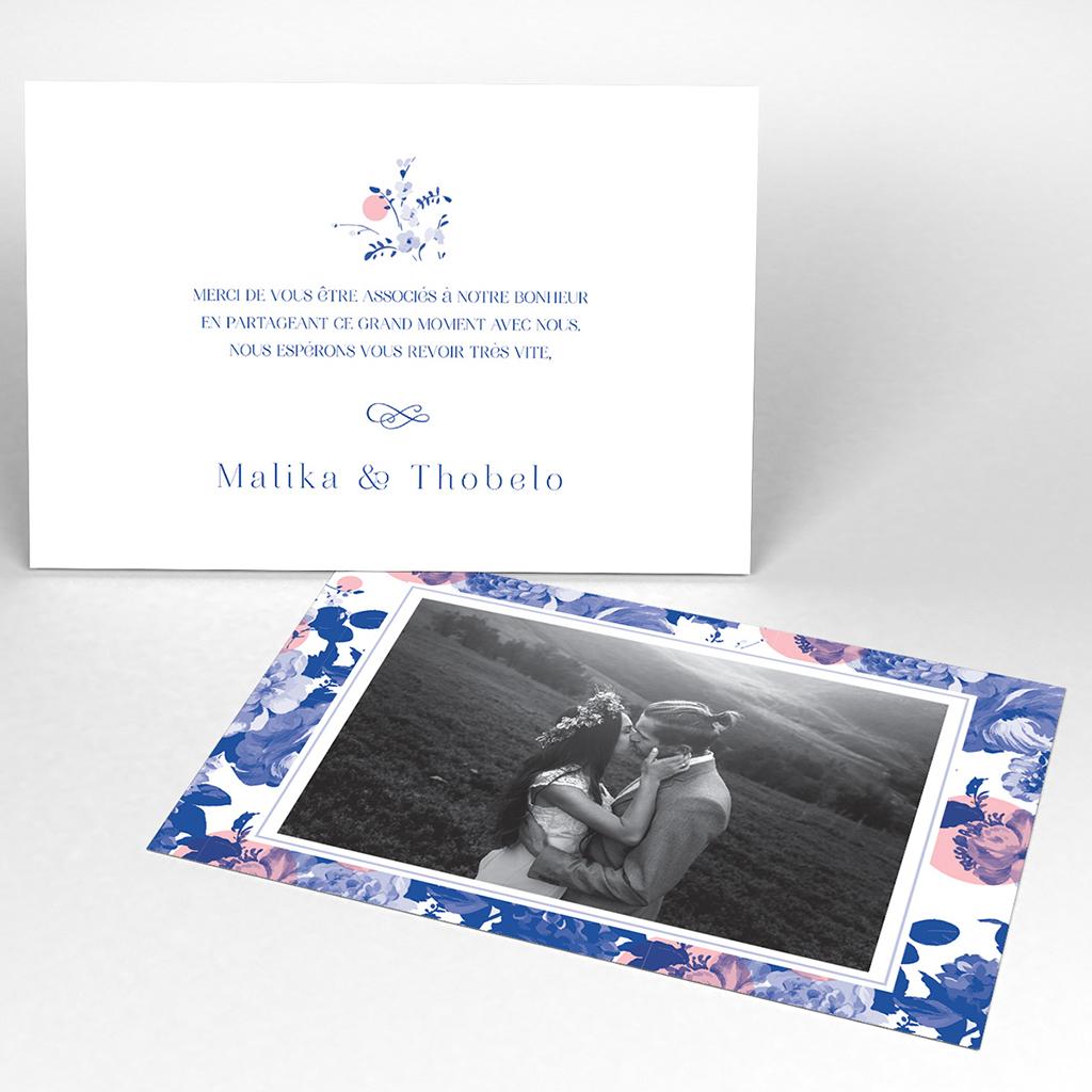 Carte de remerciement mariage Fleur Bleue Elégance