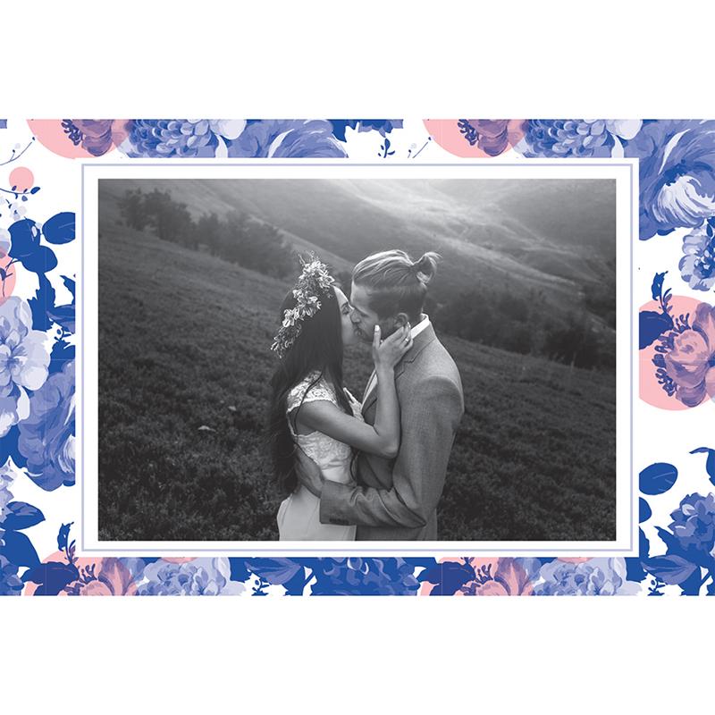 Carte de remerciement mariage Fleur Bleue Elégance gratuit