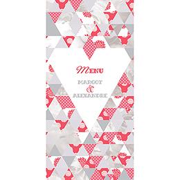 Menu mariage Origami gris rose pas cher
