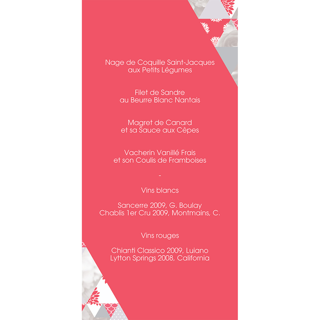 Menu mariage Origami gris rose gratuit