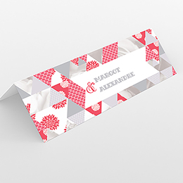 Marque-place mariage Origami gris rose