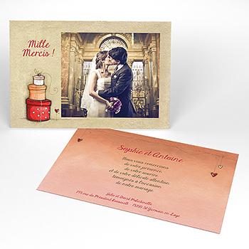 Carte de remerciement mariage Tendre espièglerie beige rose