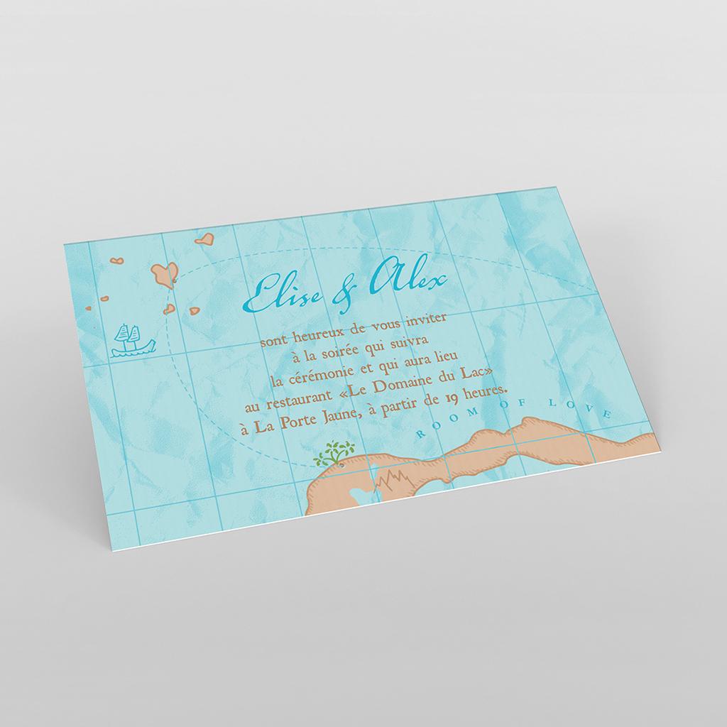 Carte d'invitation mariage Trésor