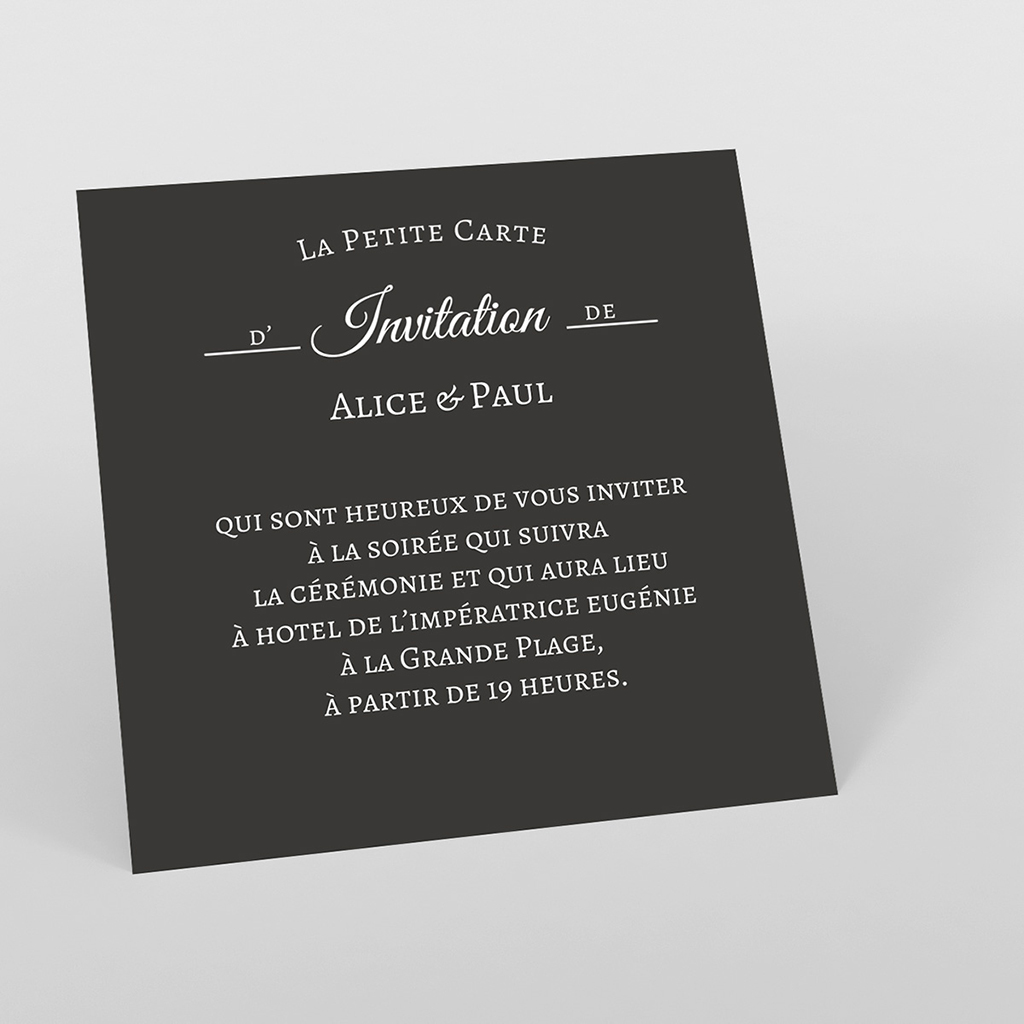 Carte d'invitation mariage Letter Press blanc