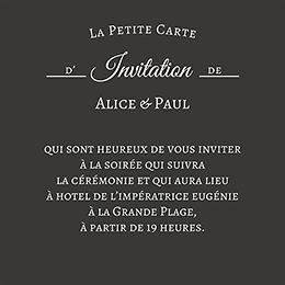 Carte d'invitation mariage Letter Press blanc pas cher