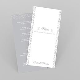 Menu mariage Letter Press gris