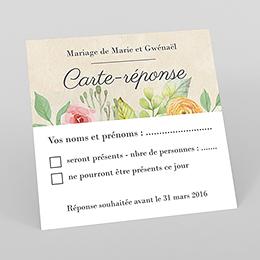 Carton réponse mariage Fleurs Vintage