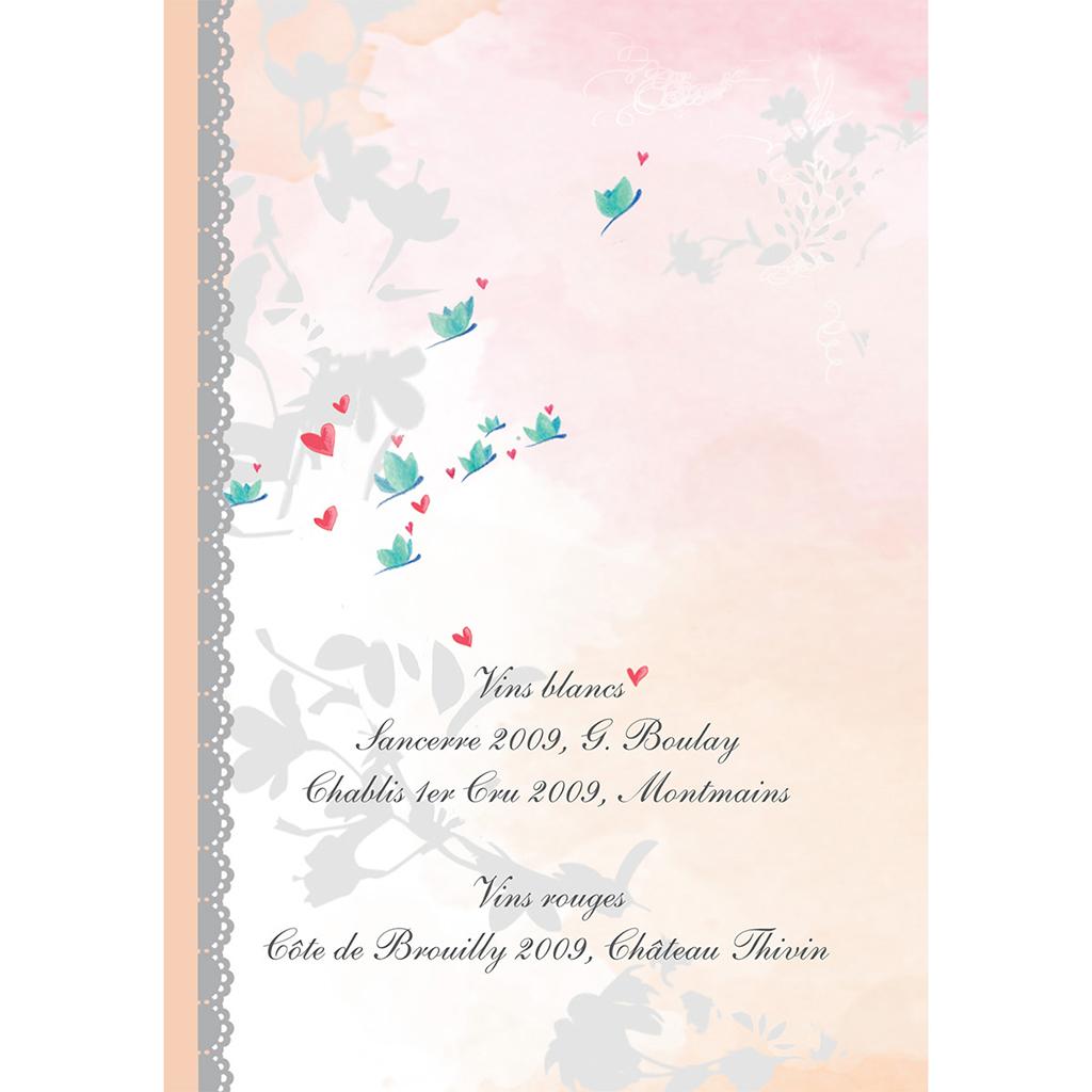 Menu mariage Sensibilis coeur gratuit