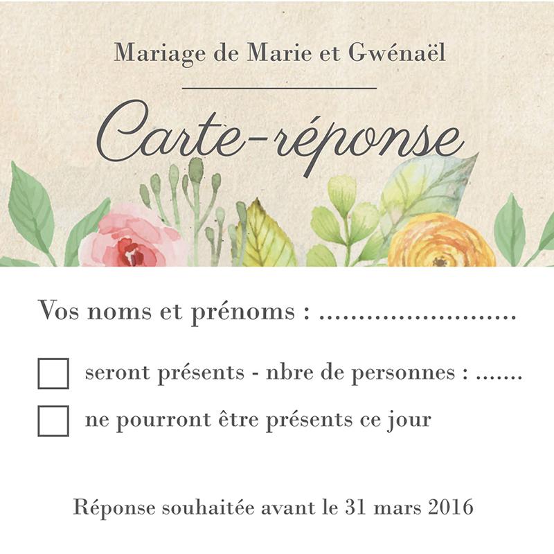 Carton réponse mariage Fleurs Vintage pas cher