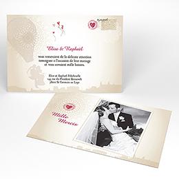 Carte de remerciement mariage Montgolfière