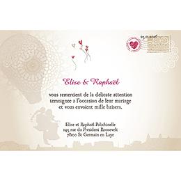 Carte de remerciement mariage Montgolfière  pas cher