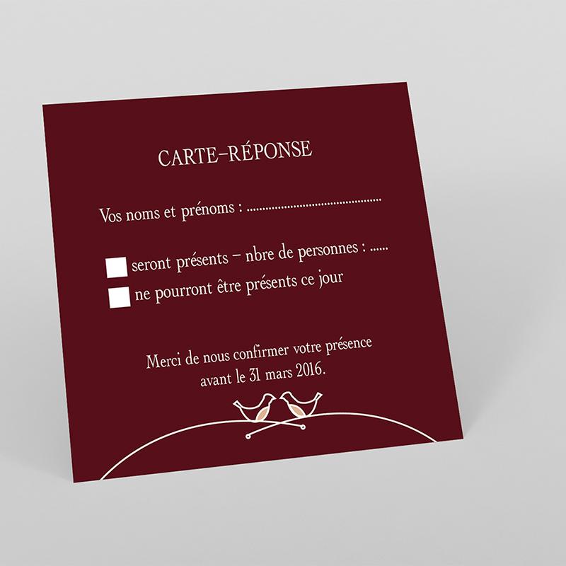 Carton réponse mariage Idylle bordeaux