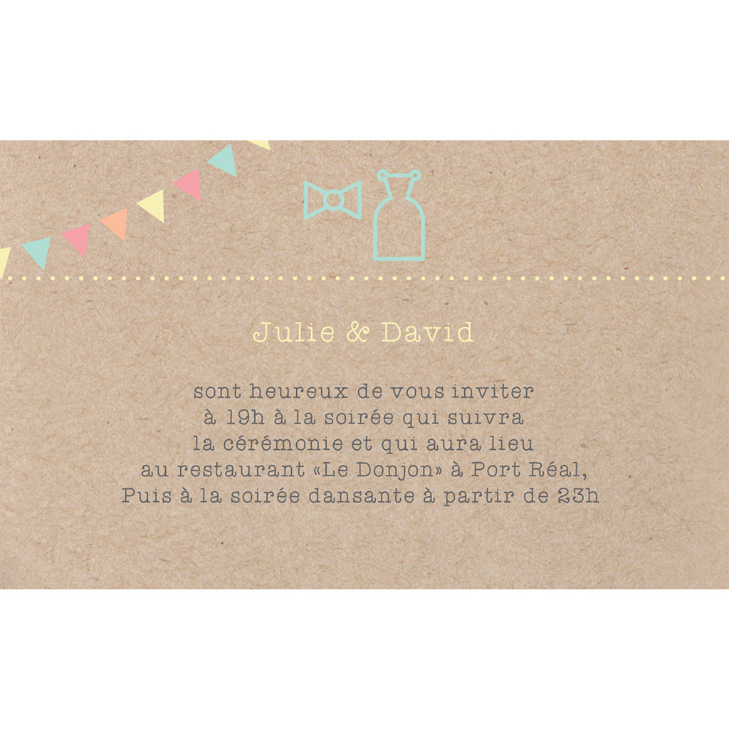 Carte d'invitation mariage Pretty love story  pas cher