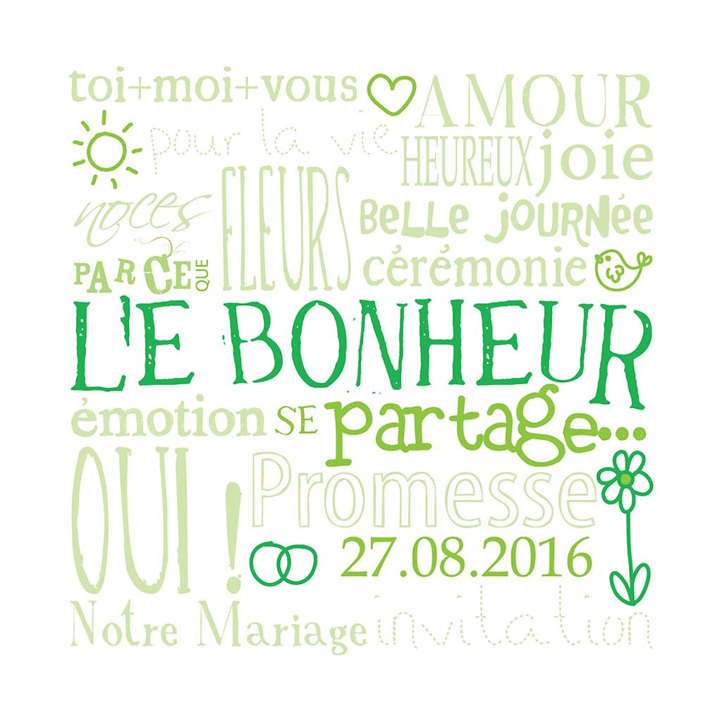 Faire-part de mariage Jeu de mots vert pas cher