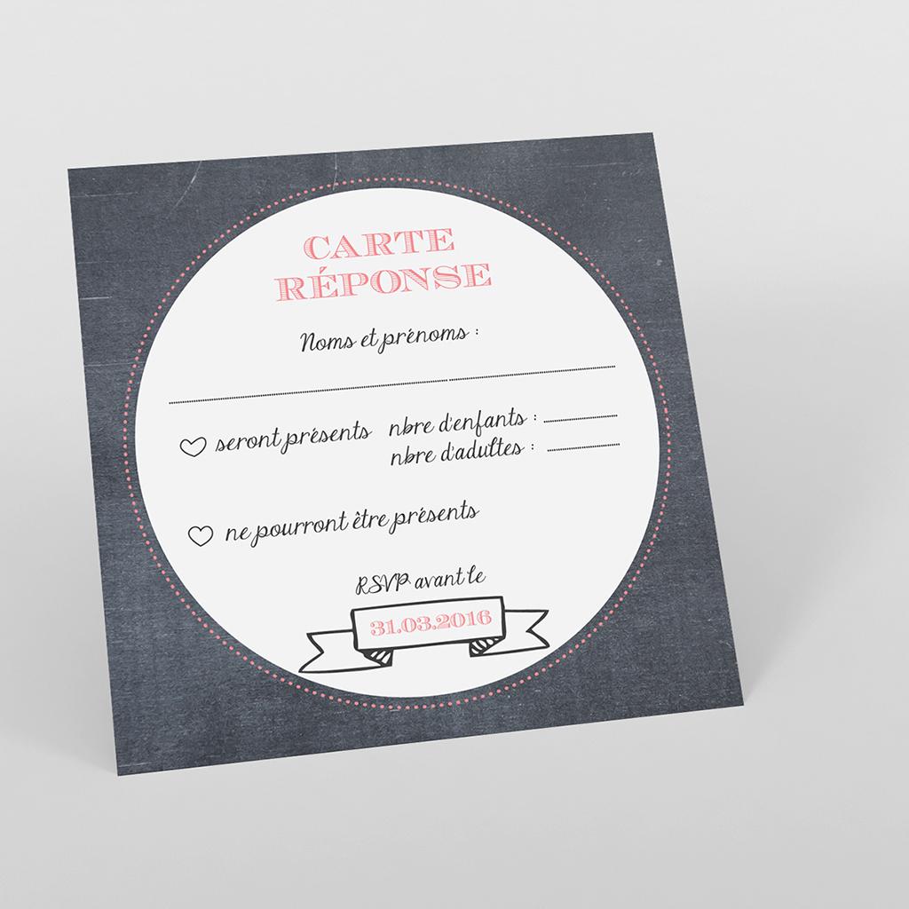 Carton réponse mariage Tendance ardoise